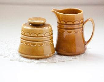 Golden Honey Brown Sugar Bowl and Creamer