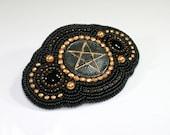 Bead embroidered barrette - Pentagram barrette - Beaded barrette - Black barrette - Hair barrette - Beaded hair slide