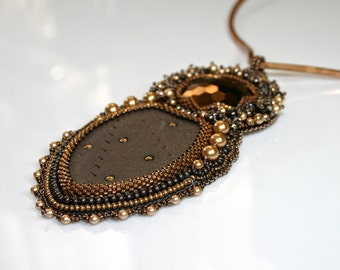 Bead embroidered necklace - brown necklace - gold and copper necklace - brown ceramic