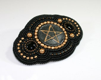 Bead embroidered barrette - Pentagram barrette - Beaded barrette - Black barrette - Hair barrette - Beaded hair slide