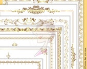 Page Borders Frames GOLD Wedding Digital Clip Art 8.5 x 11 Rectangle Ornate Frame Decorative Border Digital Download Retro Clipart 10365