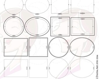 Digital Frames Clip Art Ornate VECTOR COMMERCIAL USE Clipart Scrapbook Craft Supply Text Dividers Label Tag Graphic Transparent Middle 10171