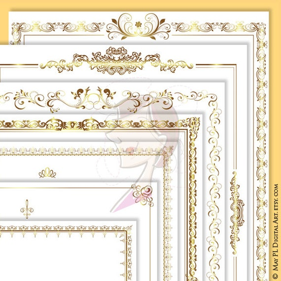 Wedding Border Frame Gold Decorative Digital Clip Art