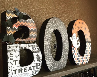 BOO Standing Wooden Letters, BOO Decor, Halloween Decor, Halloween Decorations, BOO Letters, Boo centerpiece, Halloween Wooden Decor