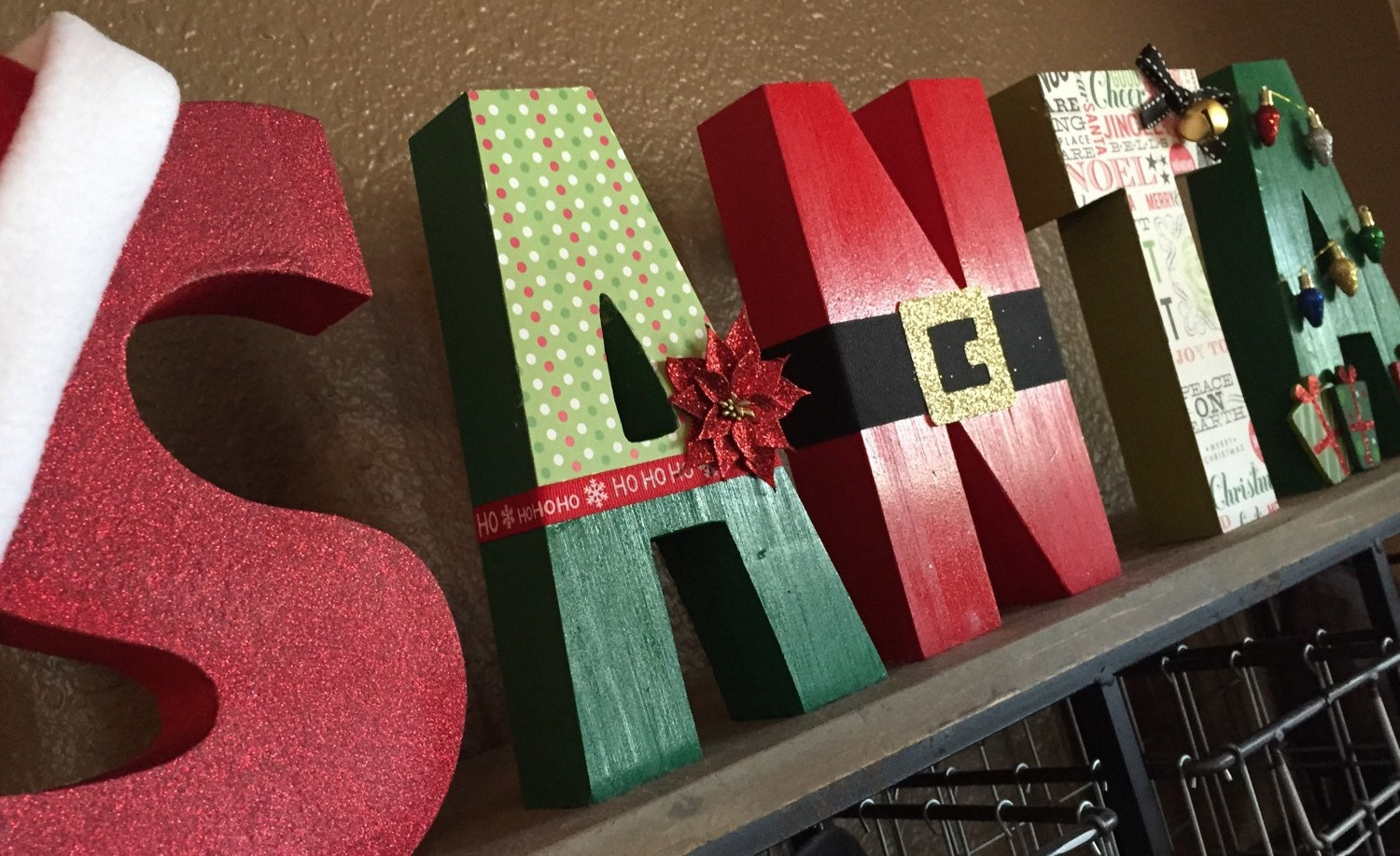Santa block wooden letters christmas