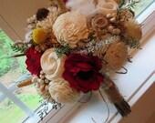 Wedding Bouquet,  Sola wood Fall Bouquet, Bouquet, Alternative Bouquet, Red Bouquet Sola flowers, Wood Bouquet