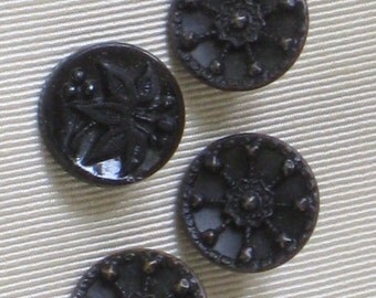 4 Antique Victorian/Edwardian Black Buttons - Trio of Metal Spoke Buttons + 1 Floral Glass Button  - Shanked - Vintage Sewing Supplies