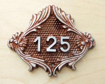 Vintage Decorative Metal Number Sign 125, Apartment Number, Room Number Plate, Flat Number Sign, Door Number Plaque