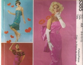 McCall's Costume Sewing Pattern 3385 - Misses'/Miss Petite Flamenco, Flapper, Marilyn Monroe Costumes (6-12)