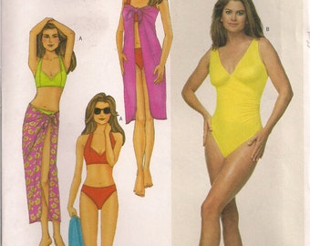Butterick Sewing Pattern 6578 - Misses' Bikini Top, Bikini Briefs, One-Piece Swimsuit and Pareo (6-10, 12-16)