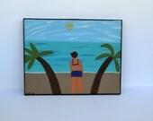 Beach Painting, Ocean Painting, Palm Tree Art, Eco-friendly Art, Costal Art, 8 x 10 painting, Chipboard Painting, Artwork