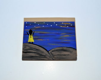Reach for the Stars Greeting Card, Painted Greeting Card, Blank Greeting Card, Stationary, Kraft paper cards, recycled card size 4 1/4 x 5.5