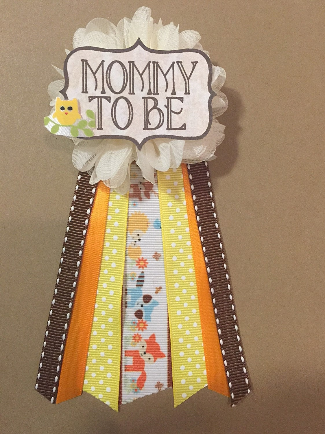 woodland animals baby shower pin mommy to be pin flower ribbon