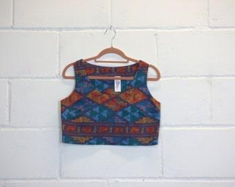 Vintage Aztec Print Crop Top