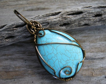 Turquoise Magnesite Pendant Necklace, Swirl Turquoise Pendant, Antiqued Bronze Wire Wrapped, Southwestern Jewelry, READY To SHIP