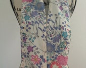 silk scarf created with vintage floral crepe kimono silk - turquoise, clematis and chrysanthemums