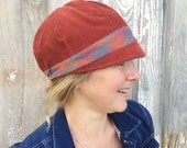 Women's Cloche Hat - Maroon Corduroy Cloche Hat with Plaid Band - Reversible Grey Women's Cloche Hat - Fall and Winter Hat
