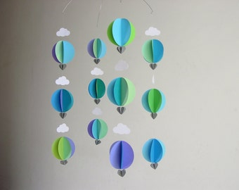 "Hot Air Balloon Baby Mobile ""Earthsea"" - Baby Boy Mobile - Baby Shower Gift - Gender Neutral Mobile - Crib Mobile - Balloon Decorations"