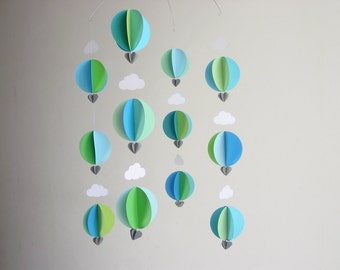 "Hot Air Balloon Mobile ""Splash"" - Modern Nursery Decor - Baby Boy Mobile - Gender Neutral Mobile - Baby Shower - Baby Boy Gift - Scandi baby"