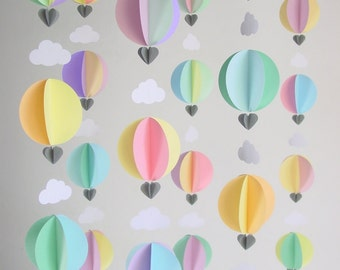 Party Pack of Hot Air Balloon Garlands - Party Backdrop - Baby Shower Decorations - Up, up and away - Nursery Decor - Baby Gift - Baby Gift