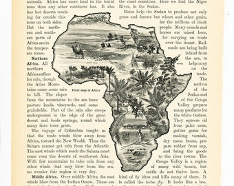 African vegetation encyclopedia art print 1920s Africa map print Colonial powers Africa map print  : Vintage 1920s original old book plate