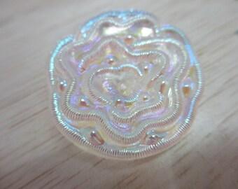 2 Large Vintage 37 mm Unique Transparent Clear Luminous Round Flower Shape Button with Iridescent Design