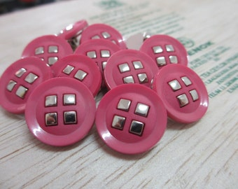 12 Vintage 18 mm Pink Tone Round Plastic Shank Button with 4 Silver Square Tone Design