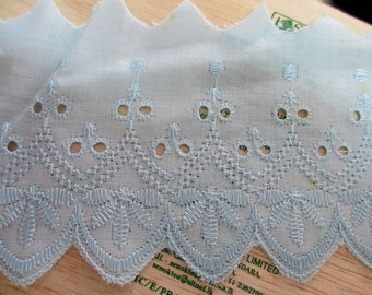 5 Yards 95 mm Wide Vintage Lace Ribbon Trim Embroidered Eyelet Powder Blue Cotton Lace Scallop Edge