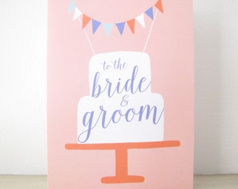 Wedding Cake Card, Blank Note Card, best wishes, shower, engagement, congratulations, Mr. & Mrs., bride and groom pink coral blue