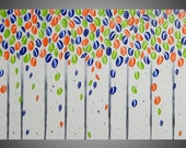 Blue Green Orange Wall art decoration Birch tree painting on large canvas Gift abstract acrylic canvas 48 x 24 Ready to Hang by ilonka