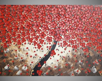 Painting Art Acrylic Painting Large Canvas Wall Art Textured Red Cherry Tree 48 x 24 Abstract Flower Wall Deco MADE TO ORDER by ilonka