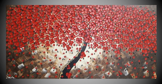 Painting Art Acrylic Painting Large Canvas Wall Art Textured Red