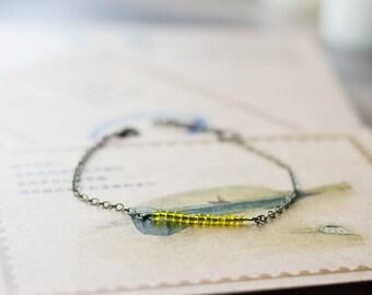 Yellow bar bracelet - delicate jewelry - beaded bracelet - everyday bracelet - bracelet minimalist jewelry - stacking bracelet - friendship