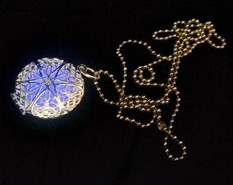 Glow in the Dark Necklace Sterling Silver .925 Purple Glow