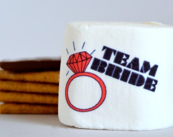 Team Bride printed marshmallow hen party bachelorette favors personalized wedding ring smores marshmallow pops