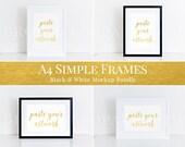 A4 frames mockup bundle, black and white frames, horizontal & vertical set, clean, simple, styled stock photography, print mockup (MOC044)