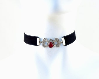 Choker with Silver Ornate Focal and Black Velvet , Red Drop  - Vampire, Gothic, Goth, Costume, Gift, 5/8'' wide