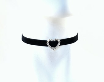 Heart Rhinestones Choker Necklace Black Velvet - Diamante Silver Buckle - Sexy, Chocker, Lingerie, Accessory, Romantic Gift