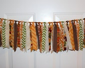 Thanksgiving Fall Pumpkin and Leaf Fabric Garland Rag Tie Banner Party Decoration, Photo Prop Backdrop