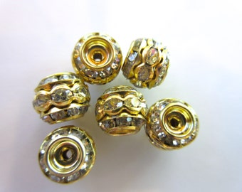 Triple stack Clear Rhinestone barrel rondelle bead 9mm x 10mm Gold tone vintage style jewelry finding brass bead 6pc