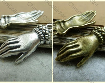 30PCS hand charm pendant 12x26mm antique silver (W7217) / antique bronze (W7216) available wholesale jewelry findings