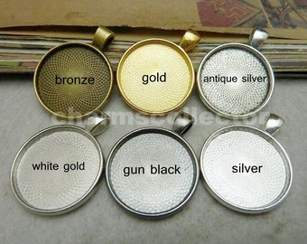 10PCS 25mm pendant trays round bezel cup cabochon mountings, gold/ silver/ bronze/ white gold/ gun black/ antique silver/ electro black
