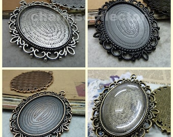 10 filigree 30x40mm oval bezel setting cabochon mounting wholesale antique silver/ antique bronze/ antique copper/ electro black available
