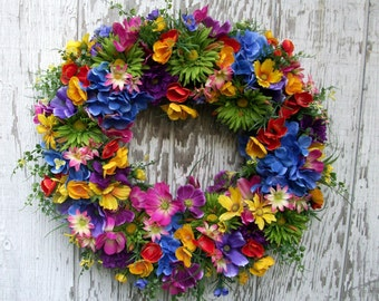 Summer Wreath, Summer Garden Wreath, Wildflower Meadow Wreath, Colorful Flower Wreath, Poppy Wreath, Cosmos Wreath, Large Wreath