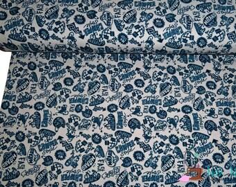 0,5 x 1,5 m SWEAT fabric MOTARD grey dark blue, 94/6% cotton/spandex