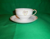 Two (2), Porcelain, Flat Teacups & Saucers, from Noritake, in the Vitry Pattern.