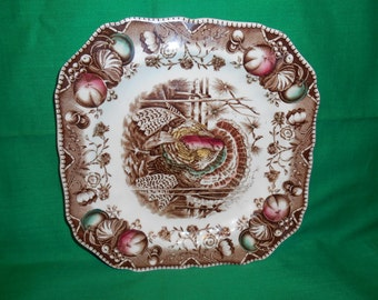 """One (1), 7 3/4"""" Square Salad Plate, from Johnson Bros., in the, His Majesty Pattern."""