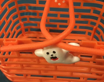 Orange Plastic Halloween Basket