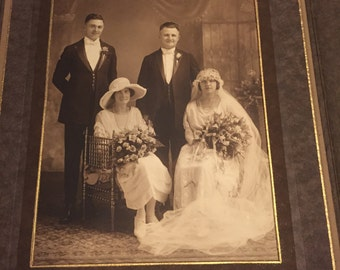 Antique 1920's Wedding Photo in Cabinet Card