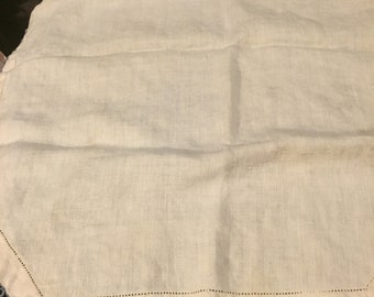 Small Linen Tablecloth with Blue Tatted Edging